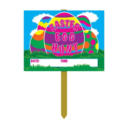 "Pack of 6 Plastic Easter Egg Hunt Decorative Yard Signs 11"" x 1.25'"
