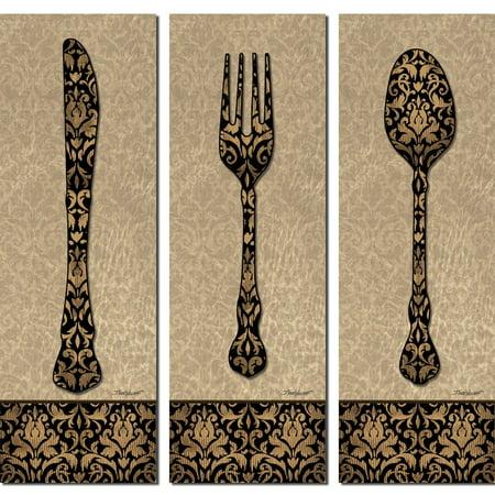 Vintage Clic Fork Spoon Knife Silverware Panels Kitchen Decor Three 6x18in