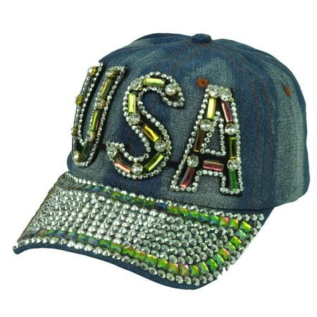 Denim Jeans Rhinestones Gems USA United States Womens Vintage Sun Buckle Hat Cap ()