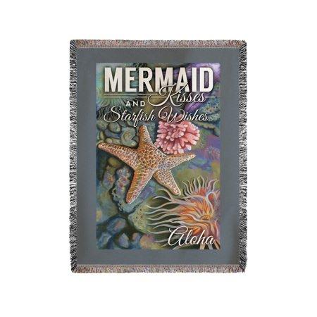 Aloha - Mermaid Kisses & Starfish Wishes - Tidepool - Lantern Press Artwork (60x80 Woven Chenille Yarn Blanket)