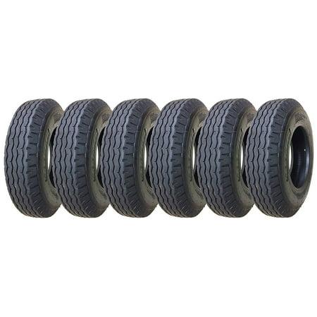 Set of 6 New Heavy Duty Highway Trailer Tires 8-14.5 14PR Load Range G- 11067 - Heavy Field Load