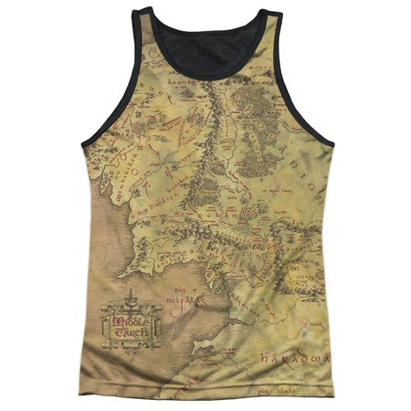 Lord of the Rings Fantasy Movie Middle Earth Map Adult Black Back Tank Top