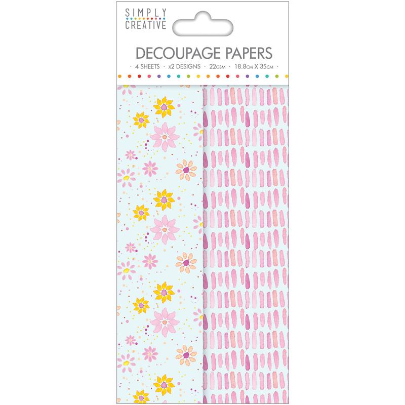 Simply Creative Decoupage Paper 18.8cmx35cm 4/pkg-watercolour Floral