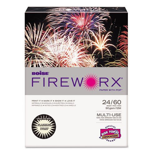 Cascades MP2241IY Fireworx Colored Paper, 24lb, 8-1/2 X 11, Flashing Ivory, 500 Sheets/ream