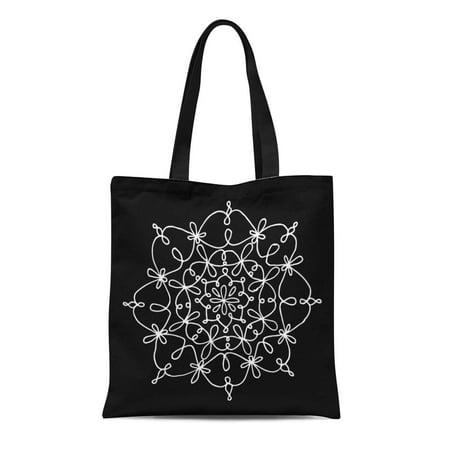 ASHLEIGH Canvas Tote Bag Blue Circle Snowflake on Object Christmas Mandala Crochet Curly Reusable Shoulder Grocery Shopping Bags Handbag