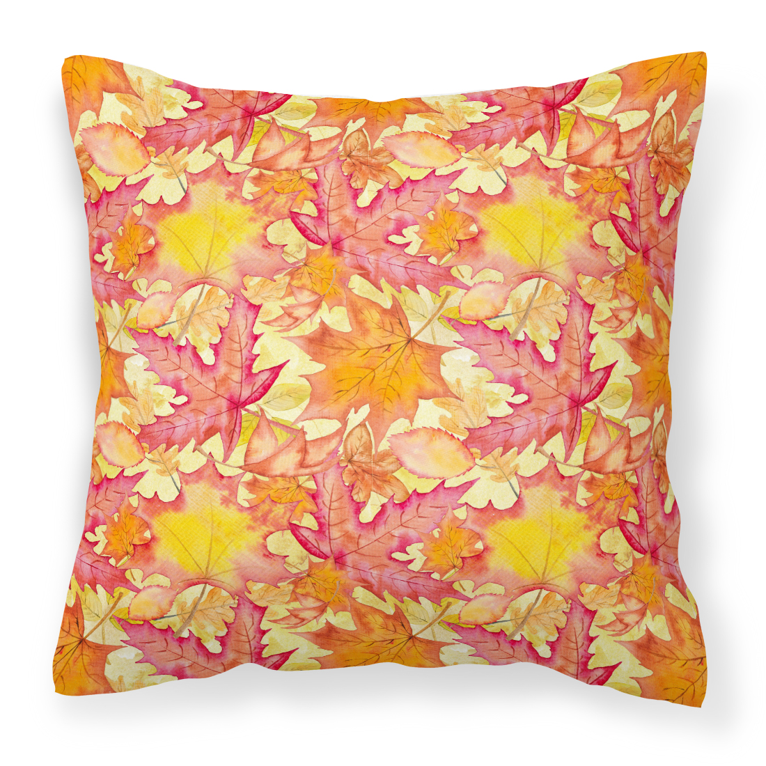 Fall Leaves Watercolor Red Fabric Decorative Pillow