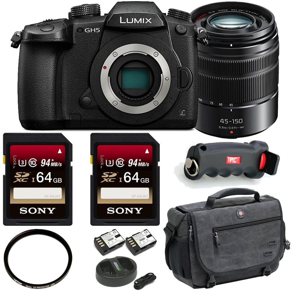 Panasonic LUMIX GH5 4K Camera w/ LUMIX G Vario 45-150mm Lens + Two 64GB Cards + Accessory Bundle