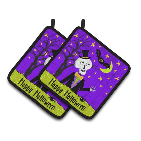 Happy Halloween Skeleton Pair of Pot Holders - Halloween 9 Plot