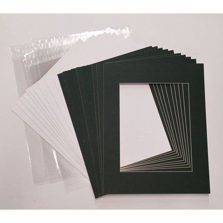 8.5x11 White Picture Mats with White Core for 5x7 Pictures - Fits 8.5x11 Frame ()