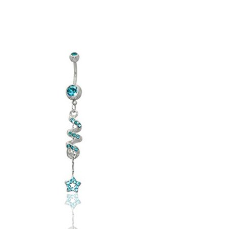 Star Multigem Spiral Dangle Surgical Steel Belly Button Ring 14G 3/8 bar Length With Cubic Zirconia Stones