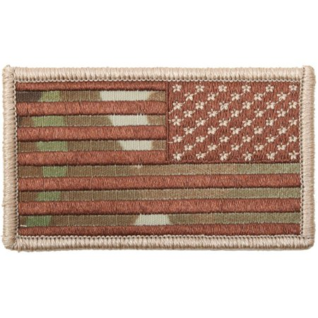 Multicam Camouflage - Reversed US Flag Patch with Hook Back USA Made