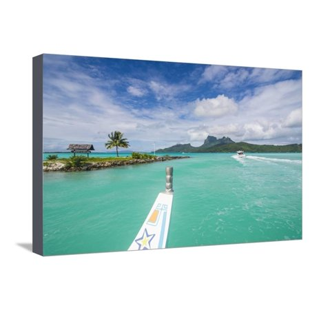 Little boat in the turquoise lagoon of Bora Bora, Society Islands, French Polynesia, Pacific Stretched Canvas Print Wall Art By Michael