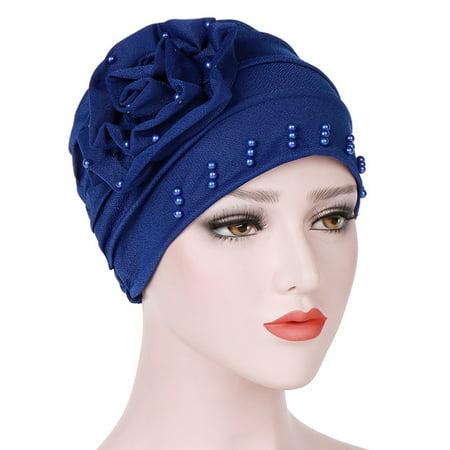 Beaded Cross Cap - Women Solid Color Side Beads Flower Muslim Headscarf Warm Knitting Hats Knit Cap