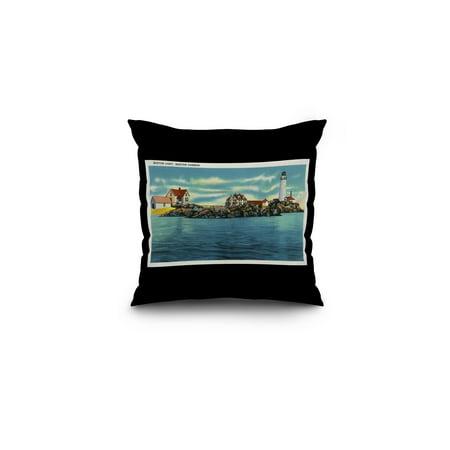 Boston, Massachusetts - View of Boston Harbor and Boston Lighthouse (16x16 Spun Polyester Pillow, Black Border)