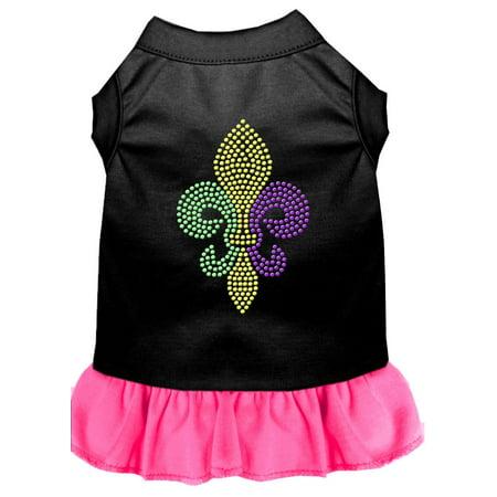 Mardi Gras Fleur De Lis Rhinestone Dress Black With Bright Pink Lg (14) - Mardi Gras Dress Ideas