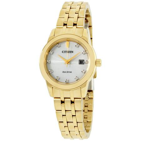 CITIZEN Women's EW2392-54A Diamond Eco-Drive Silver Dial Yellow Gold Plated Steel Bracelet Watch ()