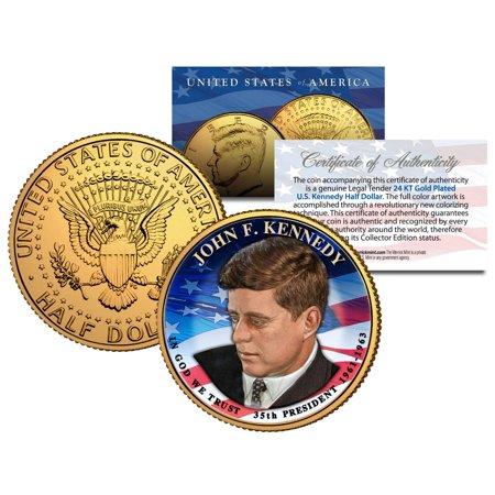 PRESIDENTIAL $1 JOHN F KENNEDY on 2015 JFK Half Dollar U.S. Coin 24K Gold