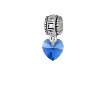 - Blue Crystal Heart - Faith Hope Love Charm Bead