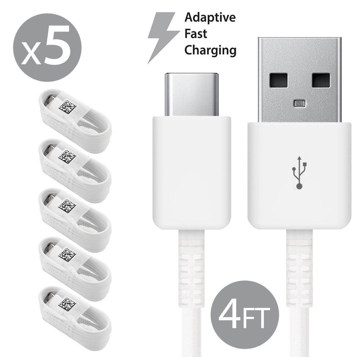 5 Pack Afflux USB Type C USB-C Fast Charging Cable USB-C 3.1 Data Sync Charger Cord For Samsung Galaxy S8 S8+ S9 S9+ Galaxy Note 8 9 Nexus 5X 6P OnePlus 3t 5 5t LG G5 G6 V20 V30 Google Pixel 2 2XL 4FT