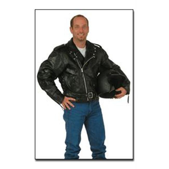 Diamond Plate Rock Design Genuine Buffalo Leather Motorcycle Jacket GFMOTM