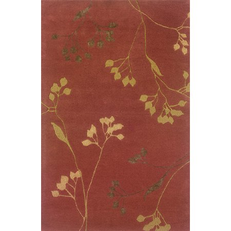 Sphinx Ventura Area Rugs - 18103 Country & Floral Rust Leaf Vines Rug