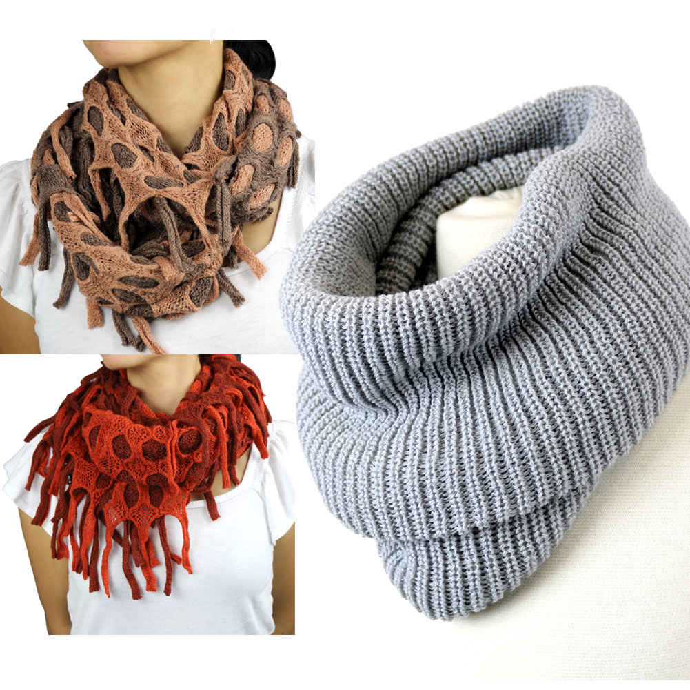 Warm Women Traditional & Infinity Soft Wrap Fashion Winter Scarf Neck Wrap Scarves Collection, Set of 3