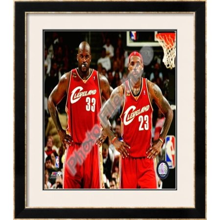 Shaquille Oneal Frame (LeBron James & Shaquille O'Neal Framed Photographic Print Wall Art  - 32.5x28.5 )