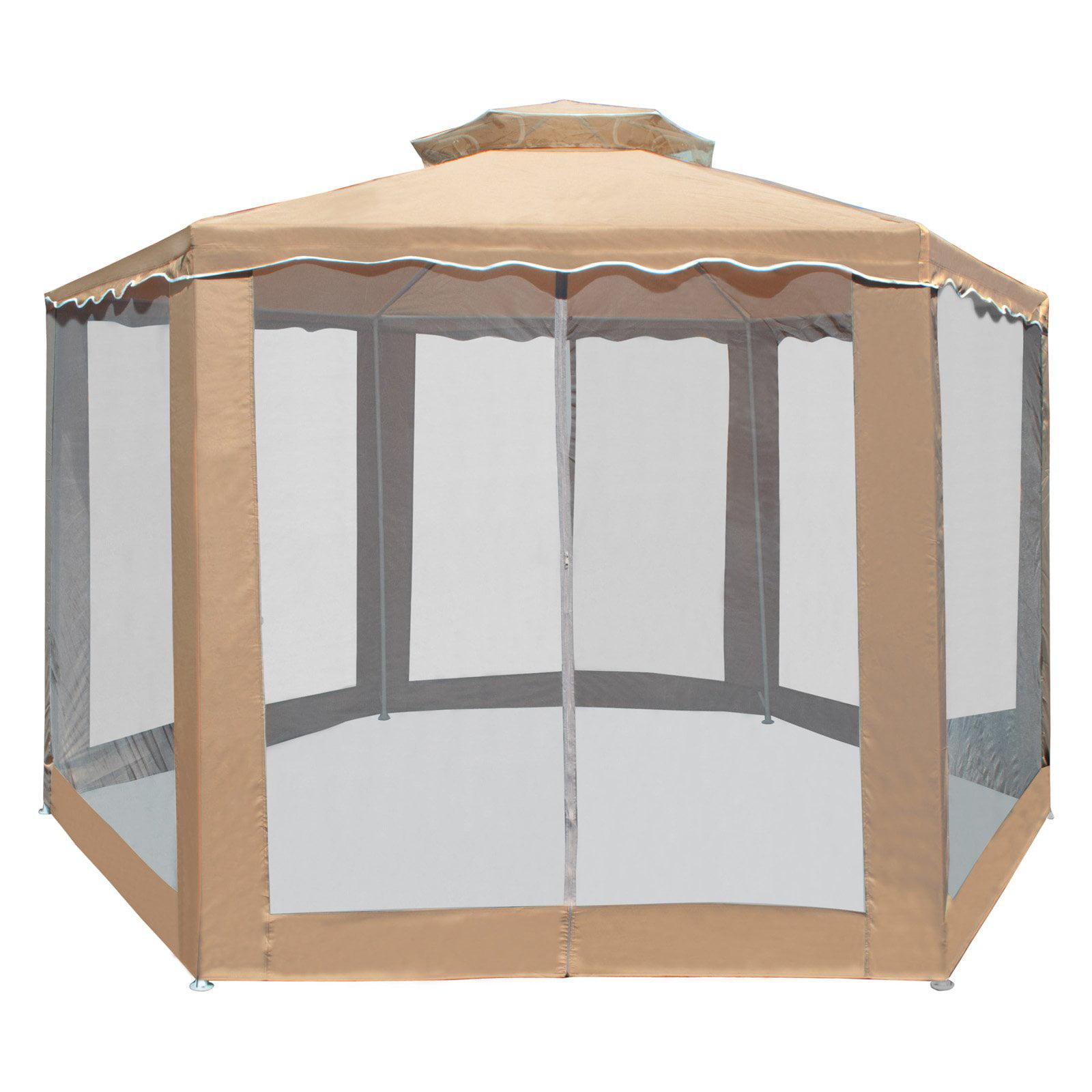 ALEKO GZ2RWN6X6X6SD Double Roof Hexagon Patio Gazebo with Netting, 6.5 x 6.5 x 6.5', Sand