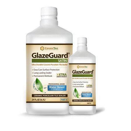 GlazeGuard Satin Sealer For Ceramic, Porcelain, Stone Tile Floor / Wall Surfaces (1 Qrt - Pro Grade (2) Part Kit)
