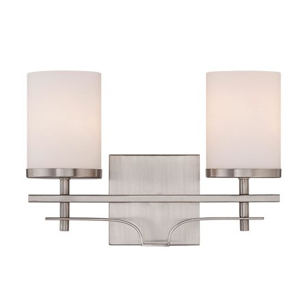 14 Inch 2 Light - Bathroom Vanity 2 Light With Satin Nickel Finish Incandescent Bulbs 14 inch 200 Watts