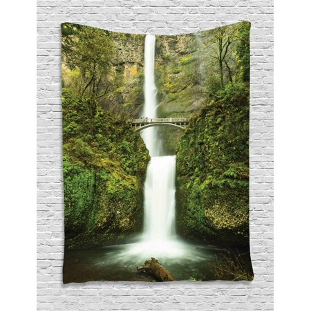Hobbits Tapestry, Falls of Rivendell Multnomah Waterfall Oregon with Hobbit Elf Path Bridge Scene Image, Wall Hanging for Bedroom Living Room Dorm Decor, Green, by (Scene Wall Tapestry)