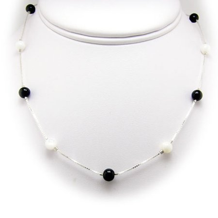 Beaded Onyx Necklace (Calcite, Black Onyx Stone Beads Sterling Silver Box Chain Necklace, 16