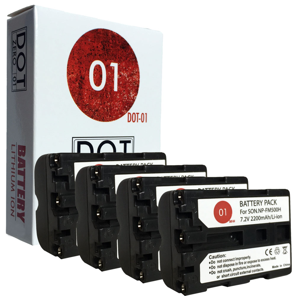 4x DOT-01 Brand 2200 mAh Replacement Sony NP-FM500H Batteries for Sony A350 Digital SLR Camera and Sony FM500H