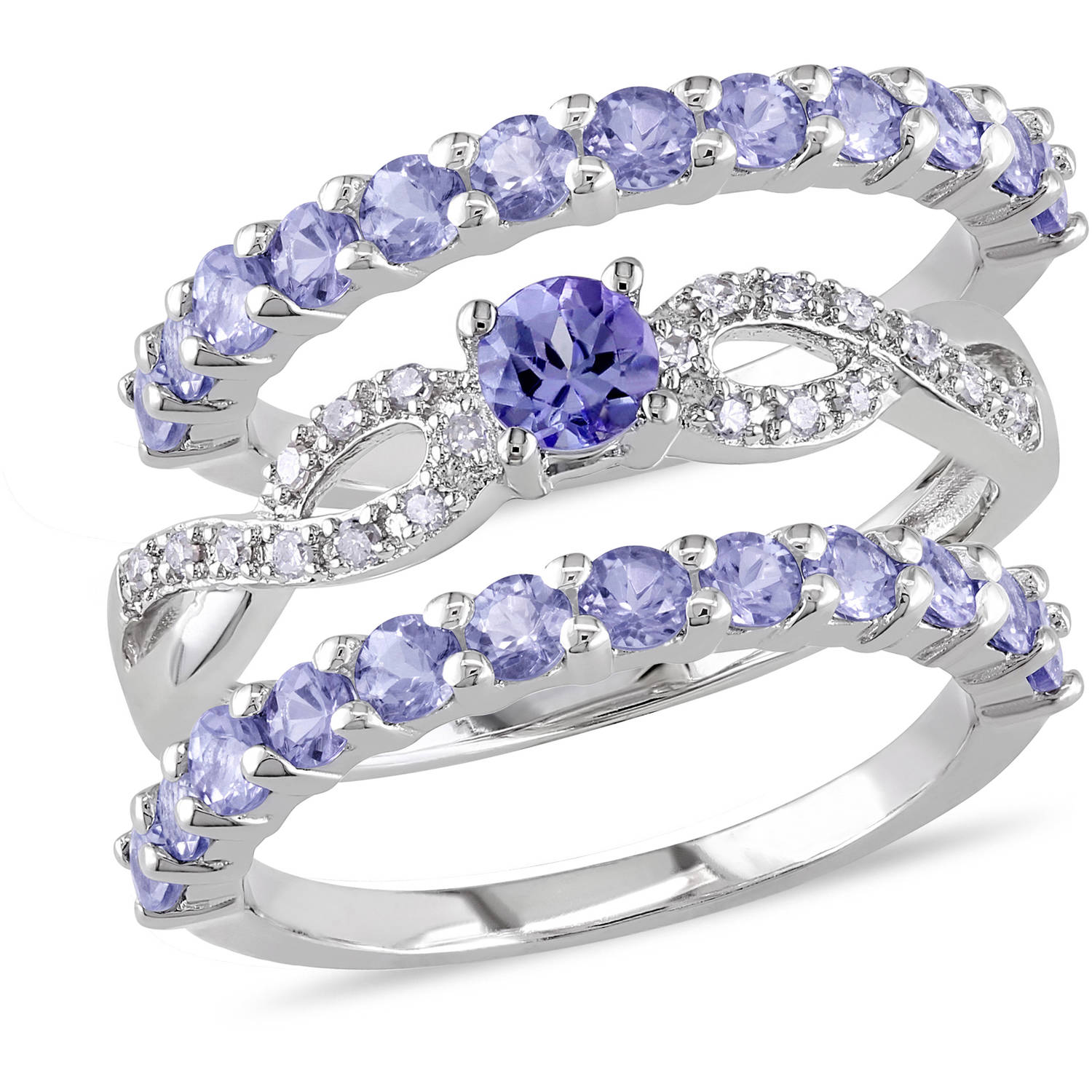Tangelo 2 Carat T.G.W. Tanzanite and 1 10 Carat T.W. Diamond Sterling Silver Infinity Design Semi-Eternity Ring Set by Tangelo