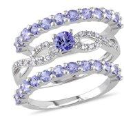 2 Carat T.G.W. Tanzanite and 1/10 Carat T.W. Diamond Sterling Silver 3-Piece Ring Set