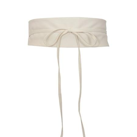 Obi Sash (eVogues Plus size Faux Leather Obi Waistband Sash Belt Off White )
