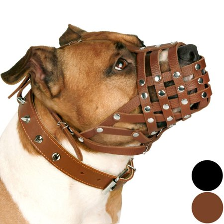CollarDirect PitBull Dog Muzzle Leather AmStaff Muzzles Staffordshire Terrier Secure Basket, Brown