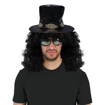 Slash Wig (Slash Curly Rocker Wig with Hat Costume)