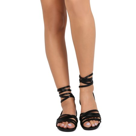 696e1c0567 Breckelles - Breckelles EA54 Women Leatherette Open Toe Strappy Slingback  Wrap Sandal - Walmart.com