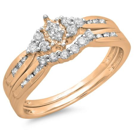 0.55 Carat (ctw) 10K Rose Gold Marquise & Round Cut Diamond Ladies Bridal Engagement Ring With Matching Band Set 1/2 (Marquise Rose Gold Ring)