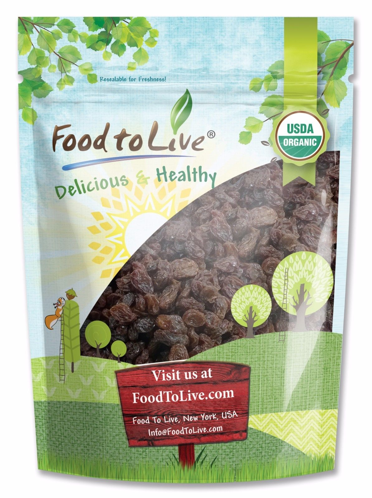 Food To Live ® Organic California Thompson Seedless Raisins (Sun-Dried, Non-GMO, Unsulphured, Bulk) (2 Pounds)