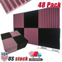 "48 Pack Acoustic Foam Studio Soundproofing Foam Panel Wedge Tiles 12""x12"" Black Purple"