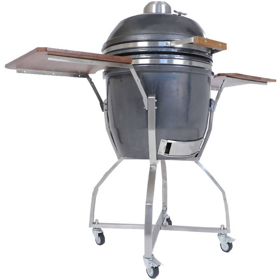 "Hanover 19"" Ceramic Kamado Grill with Cart, Shelves and Accessory Package, Desert"