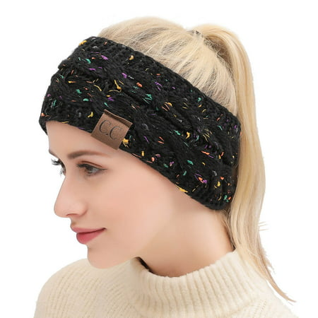 Women Winter Warm Beanie Headband Skiing Knitted Cap Ear Warmer Headbands(confetti black) ()