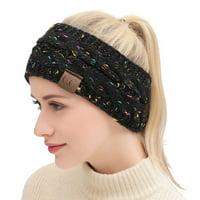 Women Winter Warm Beanie Headband Skiing Knitted Cap Ear Warmer Headbands(confetti black)