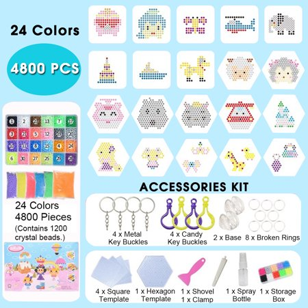 4800Pcs 24 Color Crystal Magic Bead Fuse Beads Tool Set Multicolors Water Sticky Beads DIY Refill Water Spray Art Crafts Toys for Kids Adult - Fuse Beads