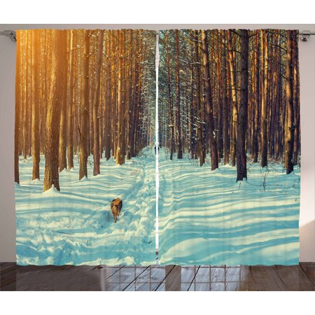 Winter Curtains 2 Panels Set, Skier Figure Running Dog in the Forest Winter Season Snow and Dead Nature, Window Drapes for Living Room Bedroom, 108W X 90L Inches, Orange Brown Seafoam, by