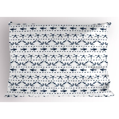 Navy Blue Pillow Sham Navy Yatch Themed Design with Fish Starfish and Anchor Nautical Marine Print, Decorative Standard King Size Printed Pillowcase, 36 X 20 Inches, Navy and White, by Ambesonne