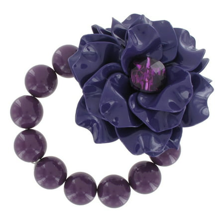 Lucite Bead Bracelet - Purple Lucite Big Chunky Flower Rhinestone Beaded Stretch Bracelet