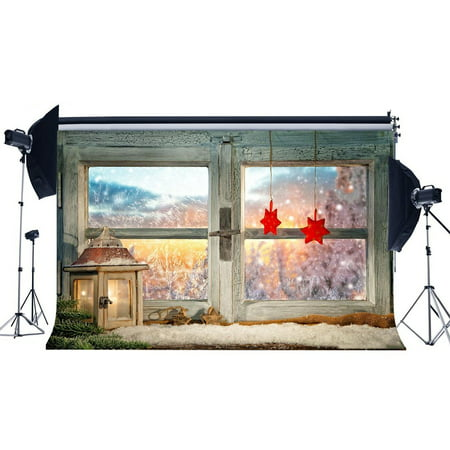 Christmas Scene Backdrop (HelloDecor Polyster 7x5ft Photography Backdrop Christmas Lantern Red Stars Vintage Wooden Window Snow Winter Scene Xmas Backdrops for Baby Kids Happy New Year Background Photo Studio)